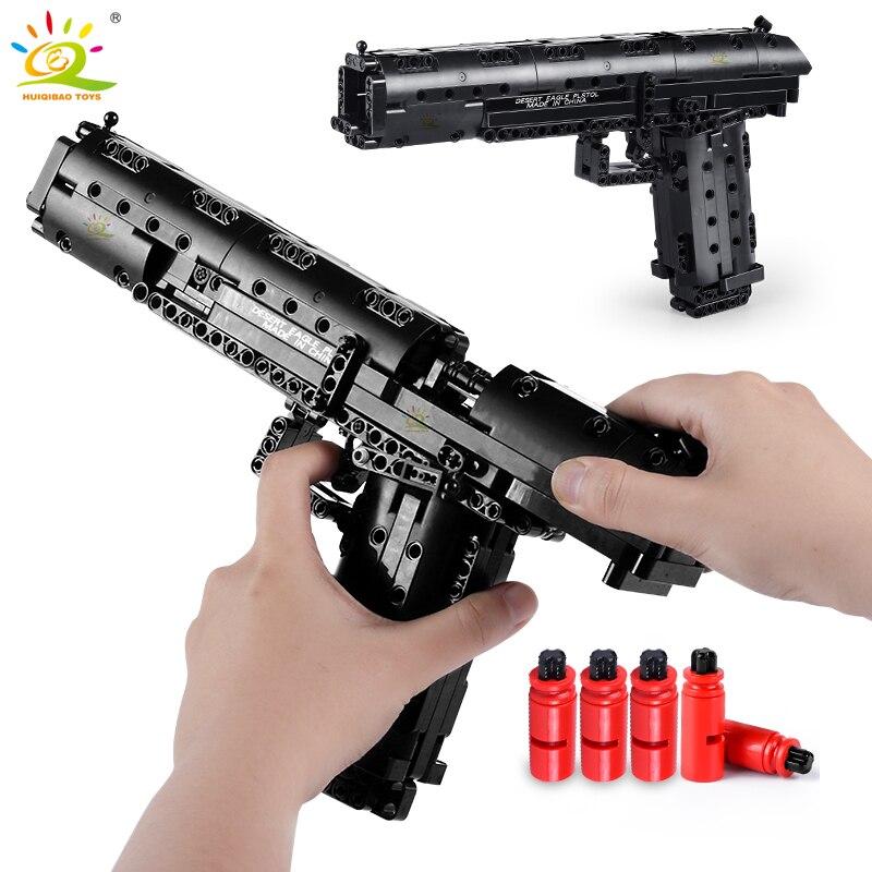 HUIQIBAO 563PCS Desert Eagle Toy Model Building Blocks Set Technic Assembly Bricks City DIY Weapon Game Gun Children Toys Gift